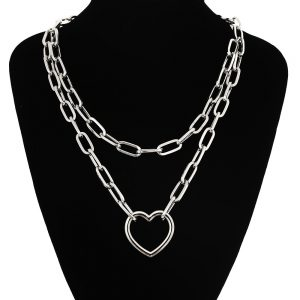 Multilayer Chain Necklace With Heart_2 7
