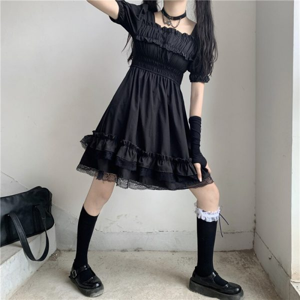 Harajuku Dark Style Dress with Vintage Square Collar and Puff Sleeves  4