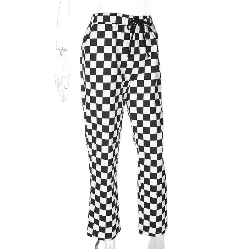 Checkered High Waist  Pants E-girl 41