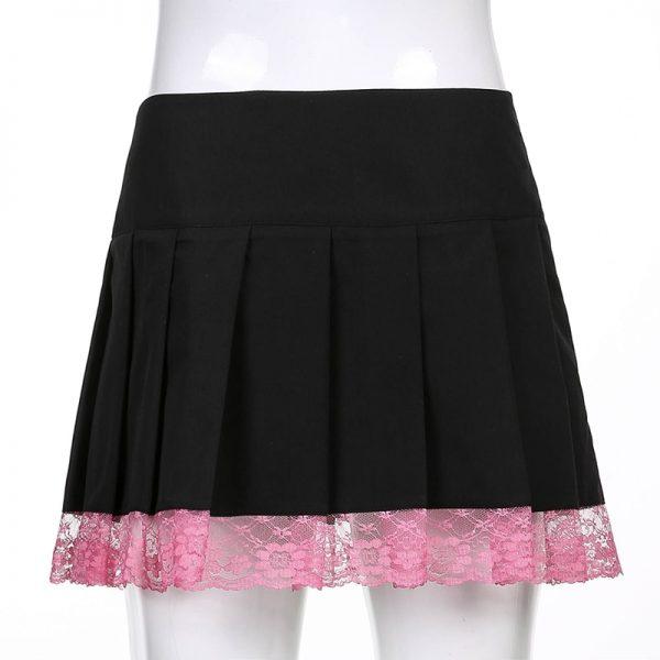 Lace Pleated Mini Skirt 12