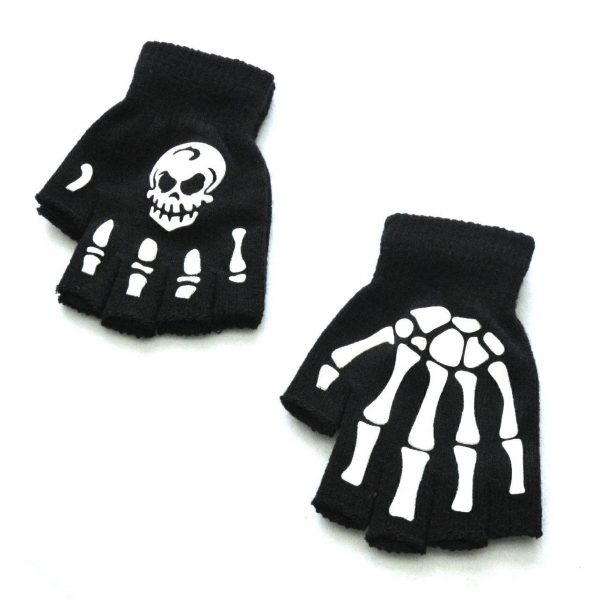 Knitting Half Finger Glove with Skeleton 4