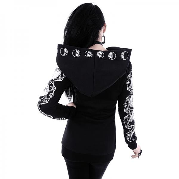 Gothic Moon Print Long Sleeve Hoodies  5