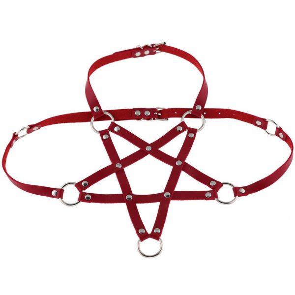 Pentagram shape Leather Body Harness  6