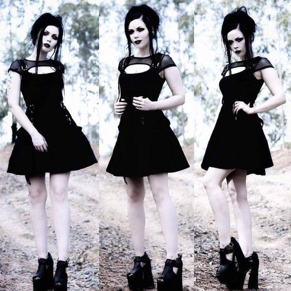 Black Dress with Mesh Shoulders 11