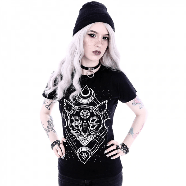 T-Shirt with Gothic Star and Cat Print 3