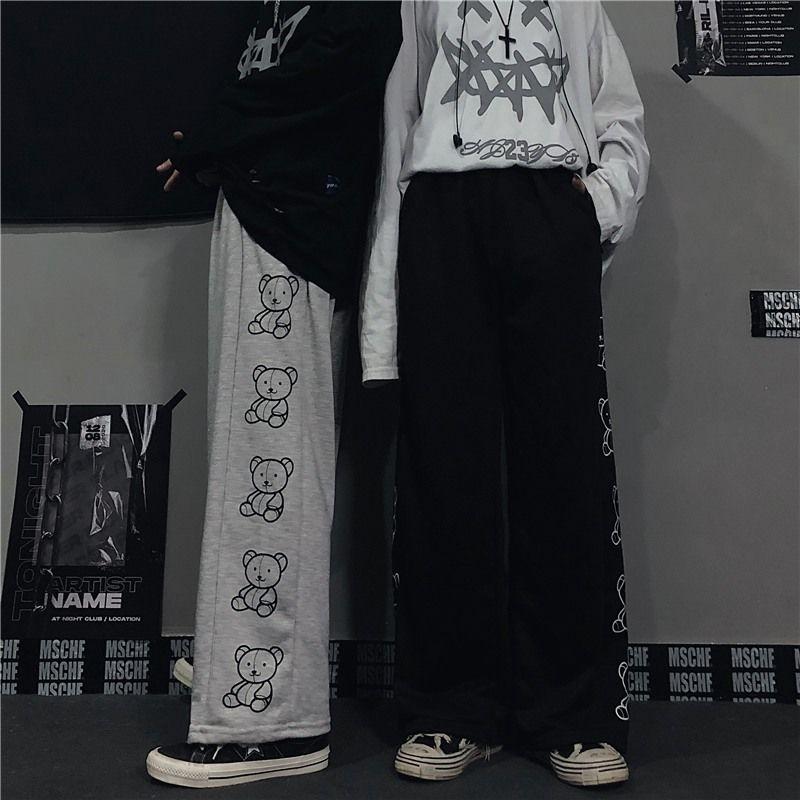 Wide Leg Pants with Cartoon Print E-girl Punk 47