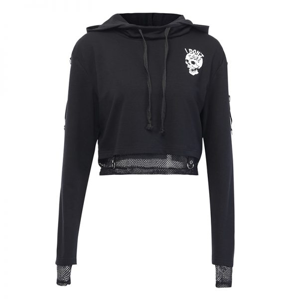 Gothic Cropped Hoodie with Skull Print 6