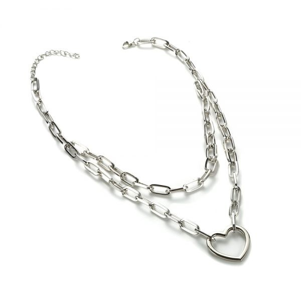 Multilayer Chain Necklace With A Padlock Pendant_3 36