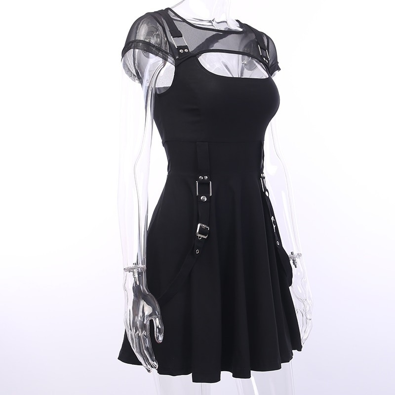 Black Dress with Mesh Shoulders Pastel gothic 42