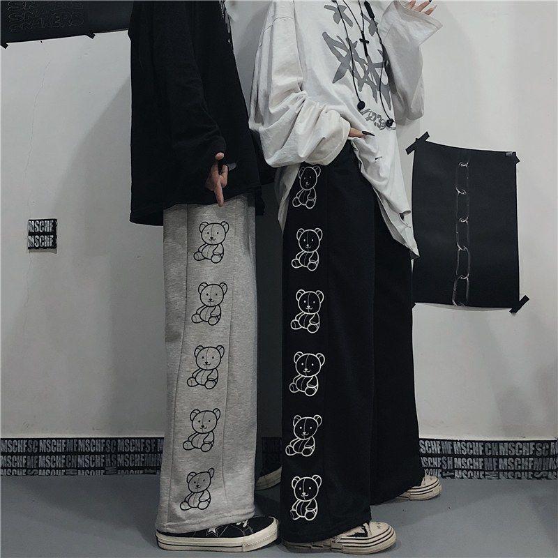 Wide Leg Pants with Cartoon Print E-girl Punk 48