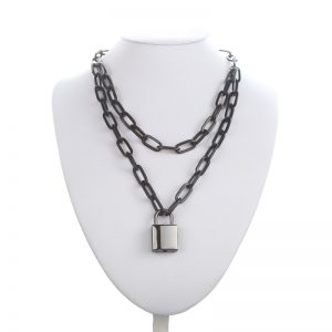 Multilayer Chain Necklace With A Padlock Pendant 7
