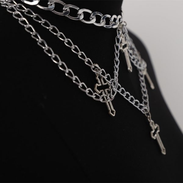 Chain Necklaces with Hollow Cross Pendants  3