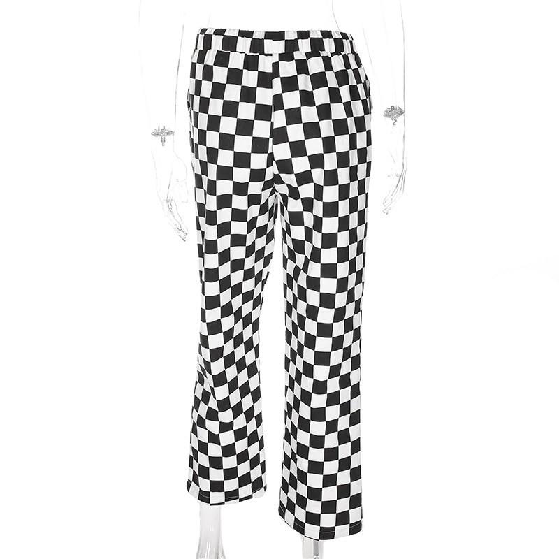 Checkered High Waist  Pants E-girl 43