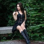 Dress with belts eyelet and zipper 11