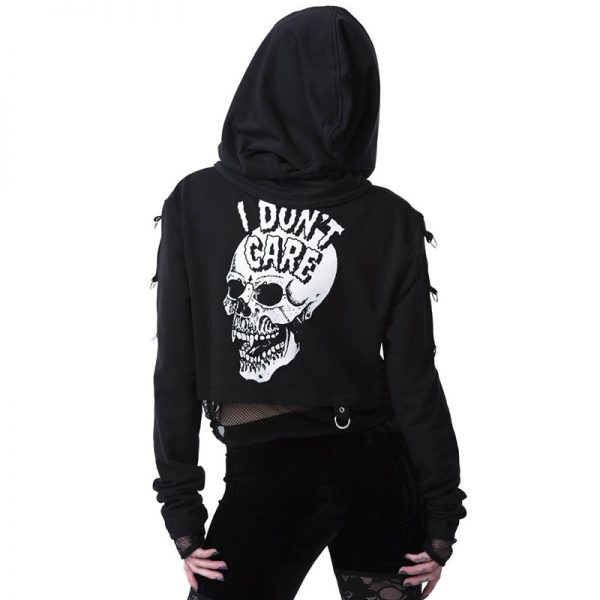 Gothic Cropped Hoodie with Skull Print 5