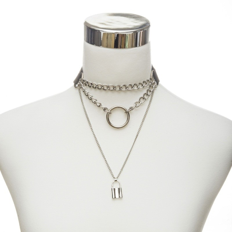 Multilayer lock chain necklace E-girl Pastel gothic 43
