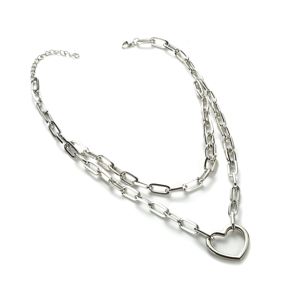Multilayer Chain Necklace With Heart_21