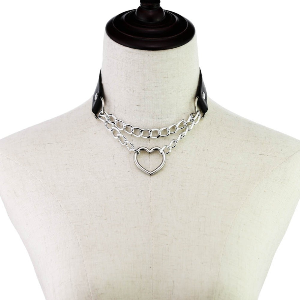 Choker with Heart and chains E-girl 42