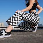 Checkered High Waist  Pants 10
