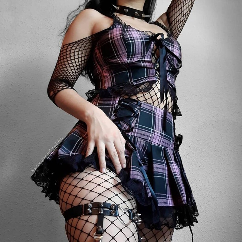 Pleated Skirts with lace E-girl 42