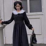 Dress Women Dark Fashion Preppy Style Long Sleeve Lolita Dresses Japanese Sweet Peter Pan Collar Long Ladies Elegant Dresses 4