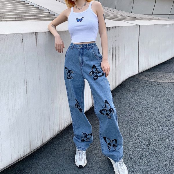 Jeans withr Butterfly Print 4