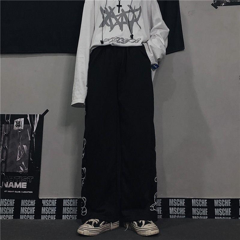 Wide Leg Pants with Cartoon Print E-girl Punk 55
