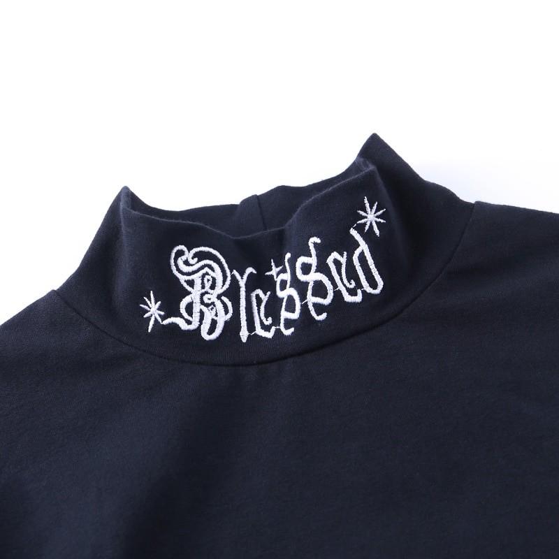 Black Bodycon Long Sleeve Crop Top E-girl 44