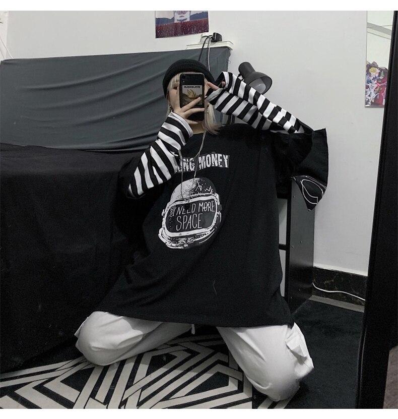 Letter Print stripe Long Sleeve T-shirt E-girl 49