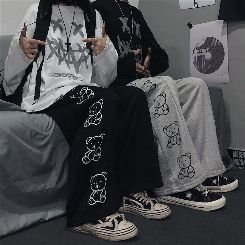 Wide Leg Pants with Cartoon Print E-girl Punk 42