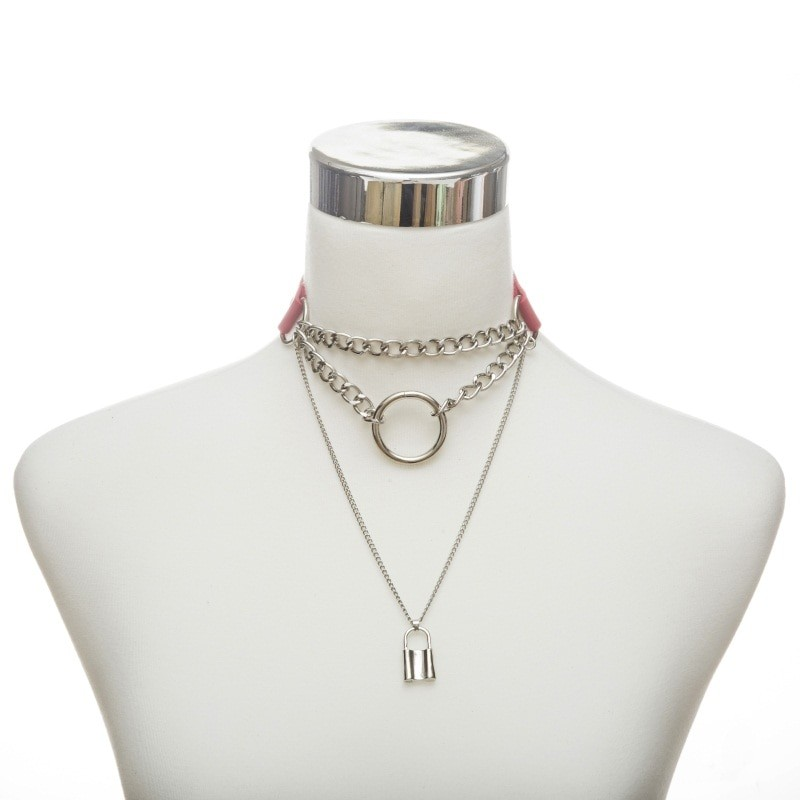 Multilayer lock chain necklace E-girl Pastel gothic 44
