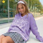 Long Sleeve Sweaters V Neck 36