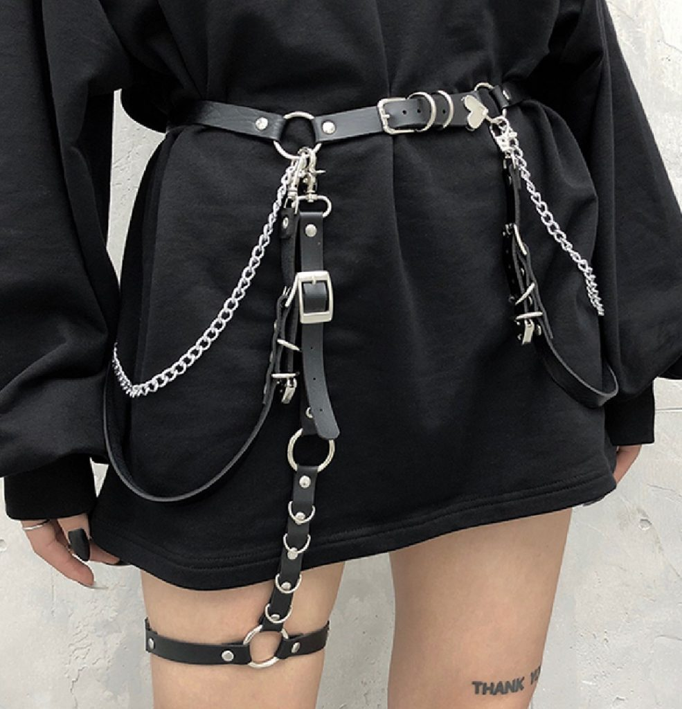 Leather belt with chains