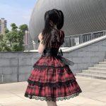 Plaid Japanese Harajuku Dress with leather bandage 12