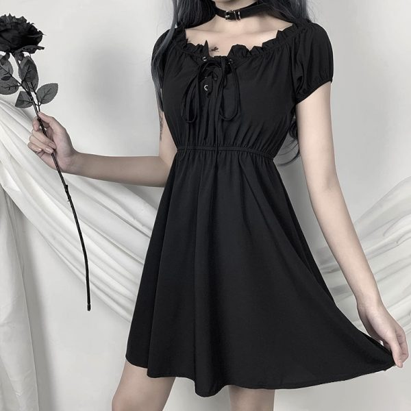Gothic style Off Shoulder Black Dresses with High Waist 3
