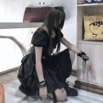 Gothic Women Dress with High Waist Ruched Ruffles and Straps 3