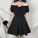 Gothic style Off Shoulder Black Dresses with High Waist