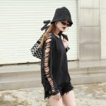 Punk Grunge loose t-shirt with pocket and holes on sleeves 5