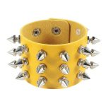 Gothic Punk Three Row Spikes Wristband 5