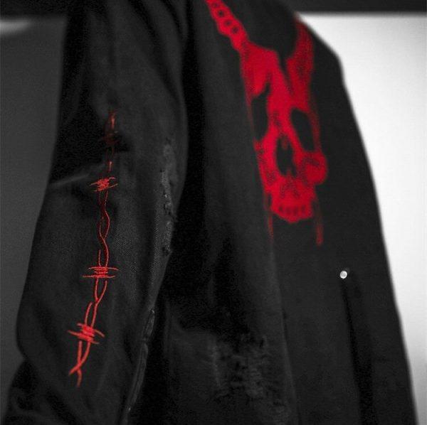 Demon Hunter Skull Black Denim Jacket 2