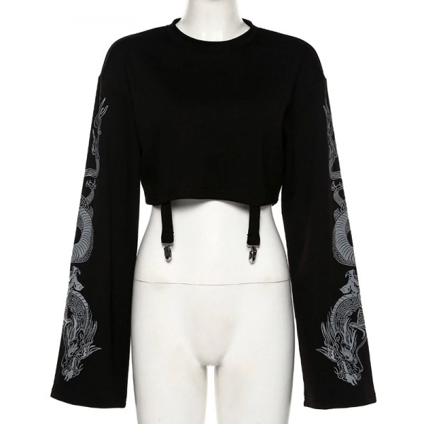 Gothic Crop Top with Dragon Print on the sleeves 3