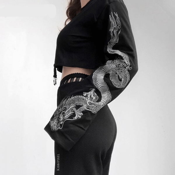 Gothic Crop Top with Dragon Print on the sleeves 2