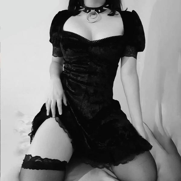 Aesthetic Vintage Lace Black Dress