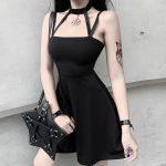 Gothic style Halter Black Mini Dress  3