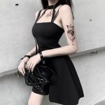 Gothic style Halter Black Mini Dress  4