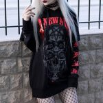 Gothic Skull Print Black Hoodie 2