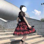 Plaid Japanese Harajuku Dress with leather bandage 15