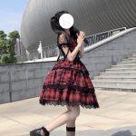 Plaid Japanese Harajuku Dress with leather bandage 11