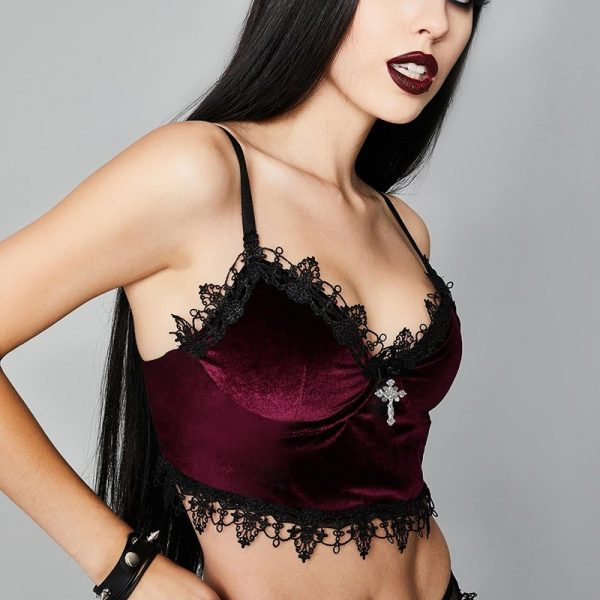 Aesthetic  Velvet Gothic Crop Top  with Lace and Cross pendant 6