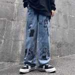 Blue Jeans in Harajuku style with Anime Print 3